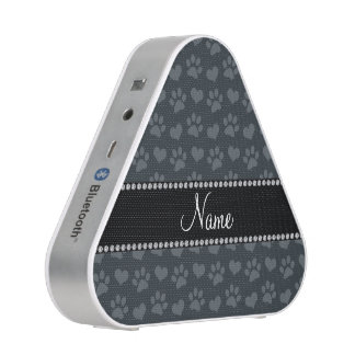 Personalized name dark gray hearts and paw prints bluetooth speaker
