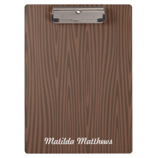 Personalized name dark wood illustration clipboard