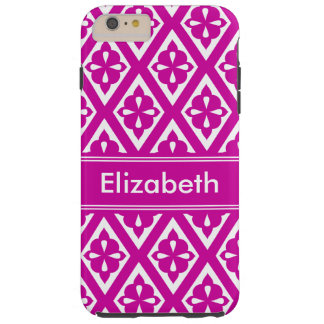 Personalized Name Deep Pink & White Patterned Tough iPhone 6 Plus Case