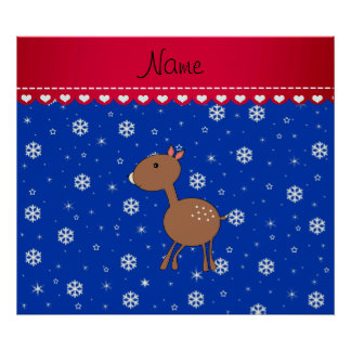 Personalized name deer blue snowflakes poster