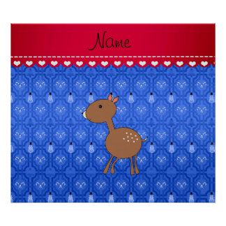 Personalized name deer blue snowman trellis print