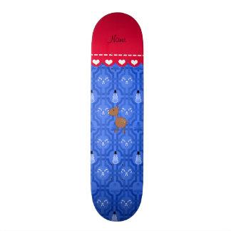 Personalized name deer blue snowman trellis skate board