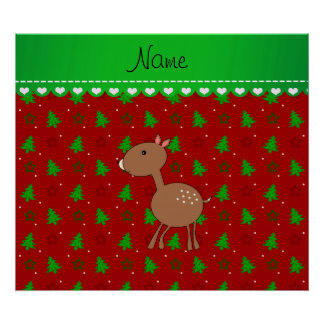 Personalized name deer red trees stars posters
