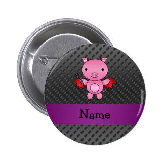 Personalized name devil pig black polka dots 6 cm round badge