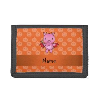 Personalized name devil pig orange pumpkins trifold wallets