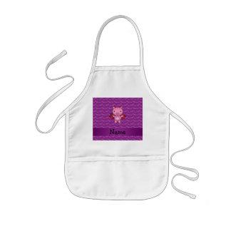 Personalized name devil pig purple bats aprons