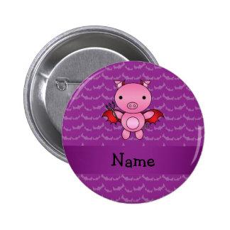 Personalized name devil pig purple bats 6 cm round badge