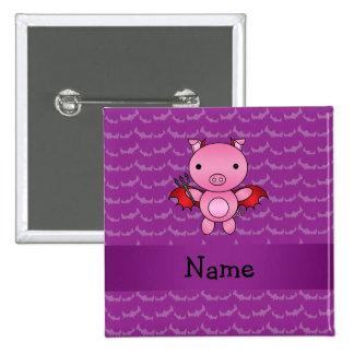 Personalized name devil pig purple bats 15 cm square badge