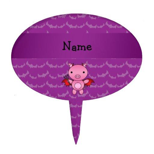 Personalized name devil pig purple bats cake picks