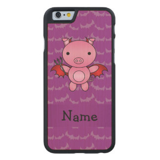 Personalized name devil pig purple bats carved® maple iPhone 6 case