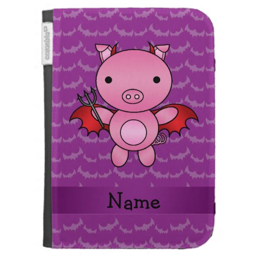 Personalized name devil pig purple bats kindle 3 covers