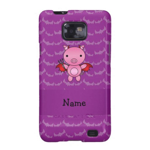Personalized name devil pig purple bats galaxy s2 covers