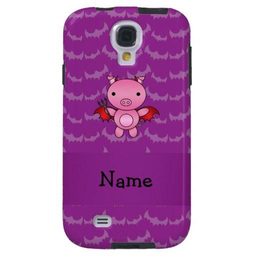 Personalized name devil pig purple bats galaxy s4 case