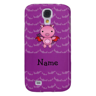 Personalized name devil pig purple bats galaxy s4 covers
