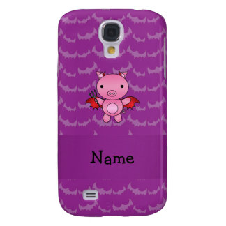 Personalized name devil pig purple bats samsung galaxy s4 case