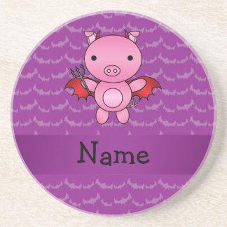 Personalized name devil pig purple bats coaster