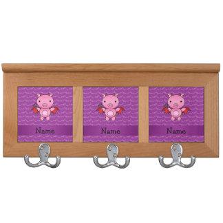 Personalized name devil pig purple bats coat rack