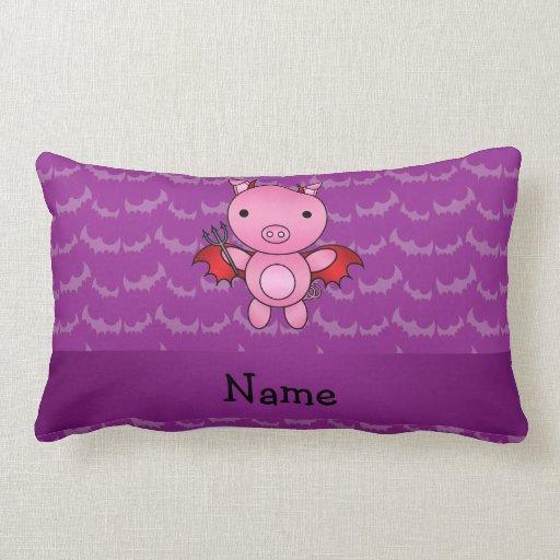 Personalized name devil pig purple bats throw pillow