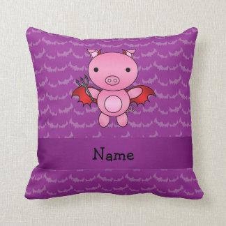 Personalized name devil pig purple bats pillow
