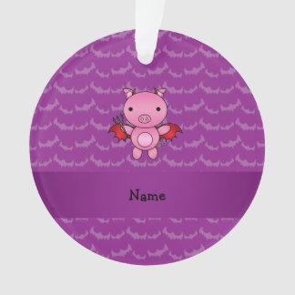 Personalized name devil pig purple bats