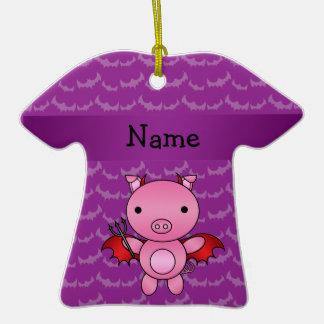 Personalized name devil pig purple bats christmas ornament