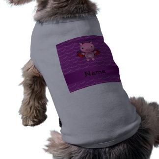 Personalized name devil pig purple bats doggie tee shirt