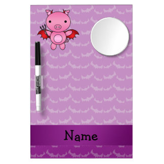 Personalized name devil pig purple bats dry erase boards