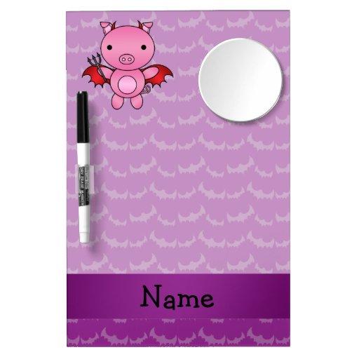 Personalized name devil pig purple bats dry erase boards