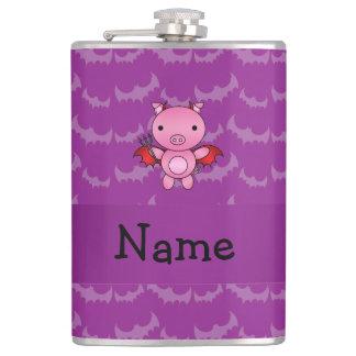 Personalized name devil pig purple bats flask