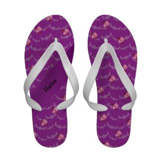 Personalized name devil pig purple bats flip flops