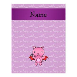 Personalized name devil pig purple bats flyer design