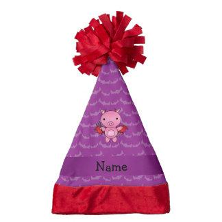 Personalized name devil pig purple bats santa hat