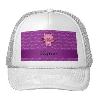 Personalized name devil pig purple bats mesh hats