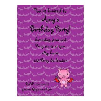 Personalized name devil pig purple bats personalized announcement