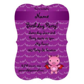 Personalized name devil pig purple bats cards