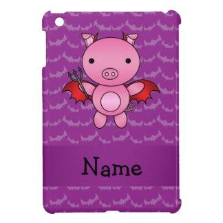 Personalized name devil pig purple bats iPad mini cover