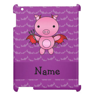 Personalized name devil pig purple bats cover for the iPad 2 3 4
