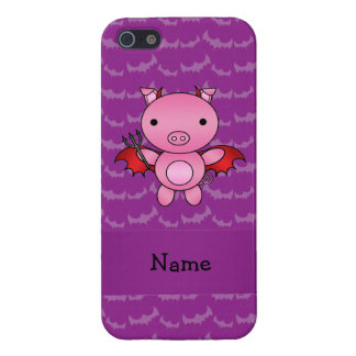 Personalized name devil pig purple bats iPhone 5 covers