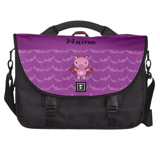 Personalized name devil pig purple bats laptop messenger bag