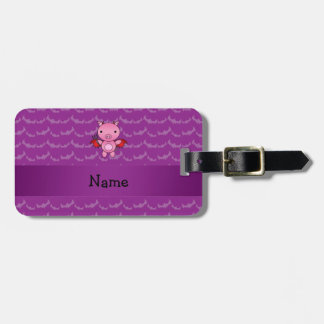 Personalized name devil pig purple bats tag for luggage