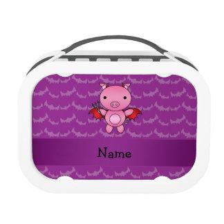 Personalized name devil pig purple bats yubo lunch box