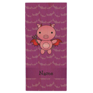 Personalized name devil pig purple bats wood USB 2.0 flash drive