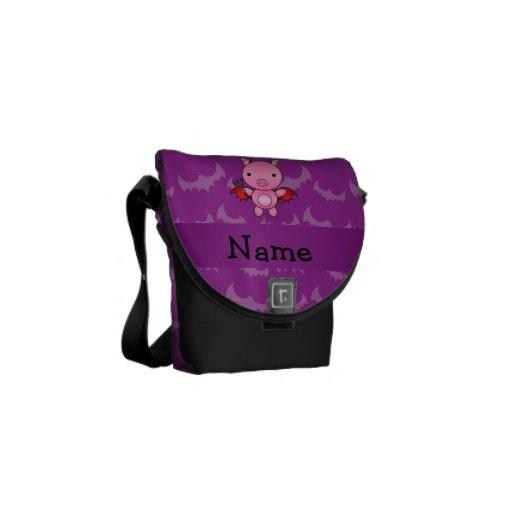 Personalized name devil pig purple bats messenger bag