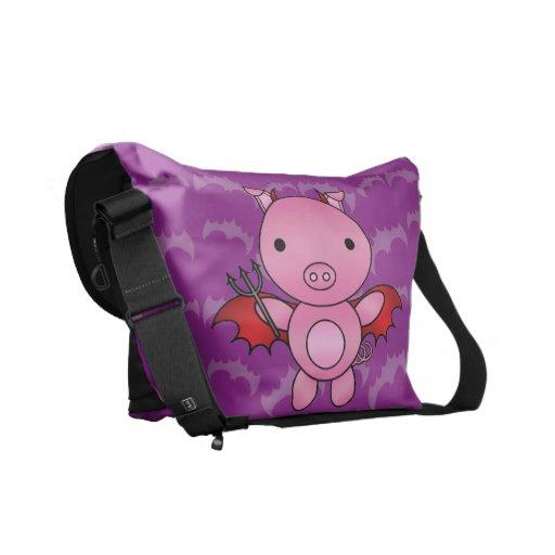 Personalized name devil pig purple bats courier bags