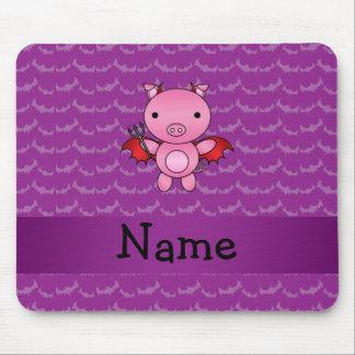 Personalized name devil pig purple bats mouse pads