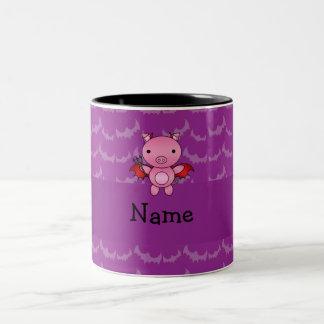 Personalized name devil pig purple bats coffee mug