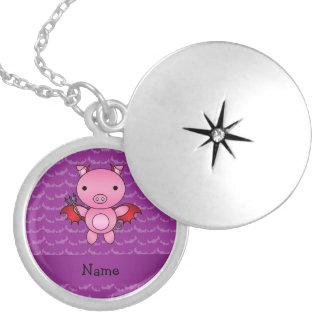 Personalized name devil pig purple bats lockets