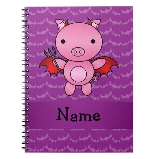 Personalized name devil pig purple bats spiral notebook
