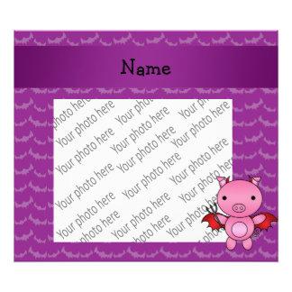 Personalized name devil pig purple bats photograph