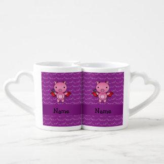 Personalized name devil pig purple bats couples mug